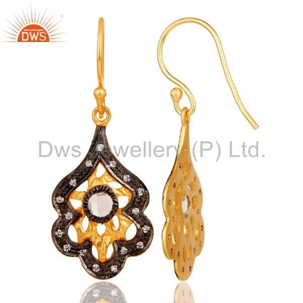Suppliers New Fashion Handmade Design Brass Earrings With 18k Gold Plated & White Zirconia