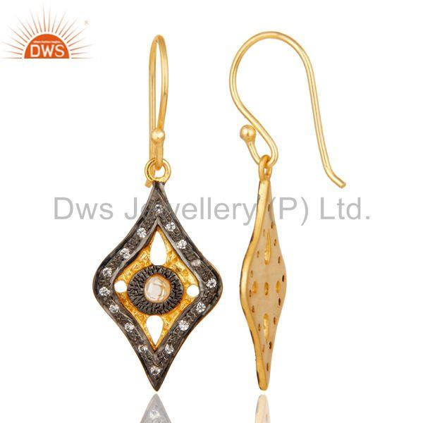 Suppliers Traditional Handmade Design White Zirconia Brass Earrings With 18k Gold Plated