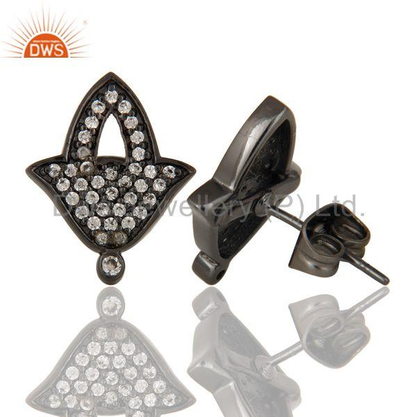 Suppliers Black Oxidized Fashion Lilghting Look White Zirconia Brass Studs Earrings