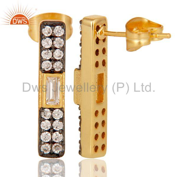 Suppliers White Zircon Gold Plated Brass Fashion Stud Earrings Manufacturers