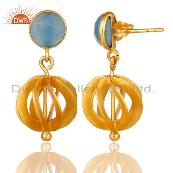 Suppliers Blue Chalcedony Gemstone Gold Plated Brass Fashion Earrings Jewelry