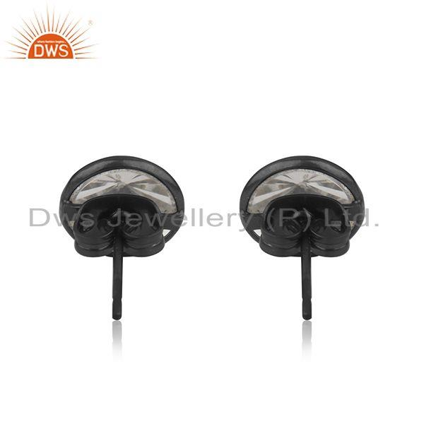 Suppliers Black Brass Fashion Crystal Quartz Round Stud Earrings Manufacturer Jaipur