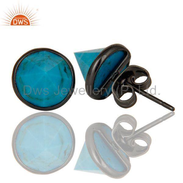 Suppliers Turquoise Pointed Fashion Studs Earrings With Black Oxidized