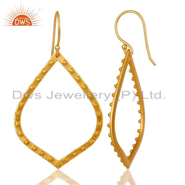 Suppliers Traditional Handmade Classic Design 22k Gold Plated Brass Drops Earrings