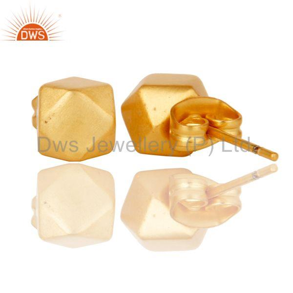 Suppliers 18k Gold Plated Traditional Handmade Beautiful Charm Brass Studs Earrings