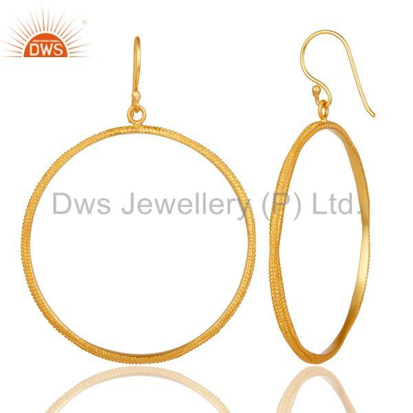 Suppliers Traditional Handmade High Finishing 18k Gold Plated Brass Drops Earrings