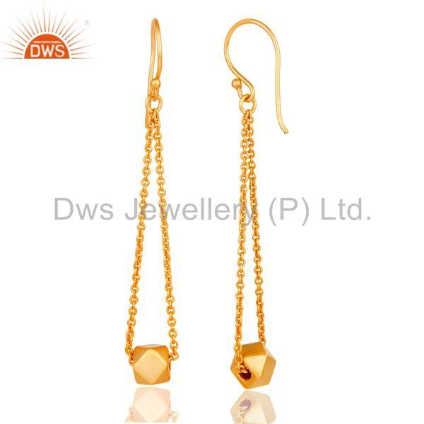 Suppliers 18k Yellow Gold Plated Handmade Classic Fashion Chain Link Brass Dangle Earrings