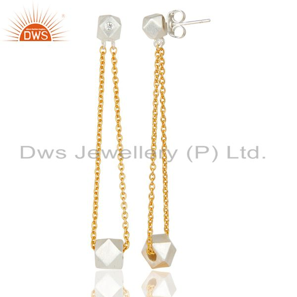 Suppliers 18k Gold Plated & Solid Silver Plated Chain Link White Zirconia Brass Earrings