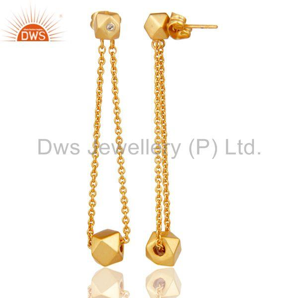 Suppliers 18k Yellow Gold Plated Handmade Chain Link White Zirconia Brass Dangle Earrings