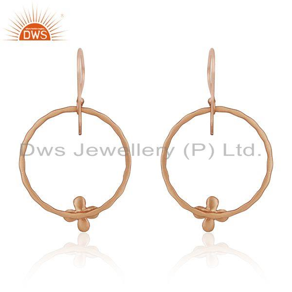 Suppliers Rose Gold Plated Brass Fashion Handcrafted Earrings Wholesaler