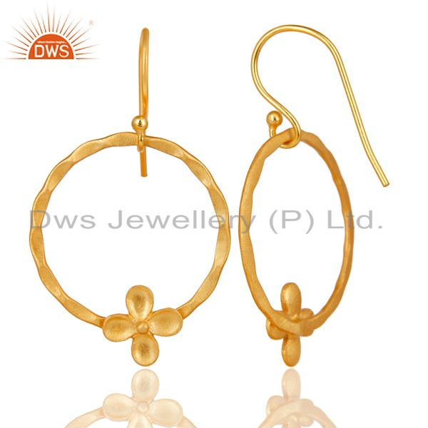 Suppliers Traditional Handmade Flower Design Brass Earrings Made In 14K Gold Plated