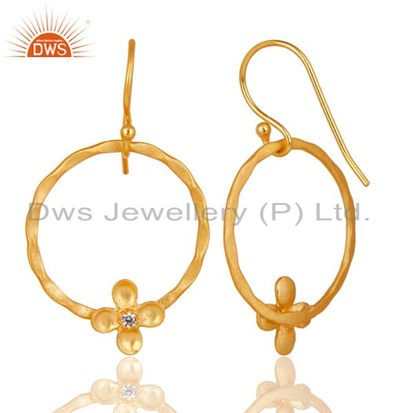 Suppliers Traditional Handmade Round Flower Design Brass Earring Made In 14K Gold Plated