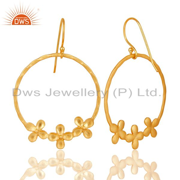 Suppliers Traditional Handmade Round Flower Design Brass Earrings Made In 14K Gold Plated