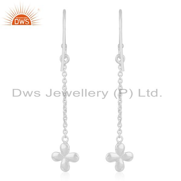 Suppliers Fine Silver Plated Brass Leaf Design Chain Earring Manufacturer of Jewellery