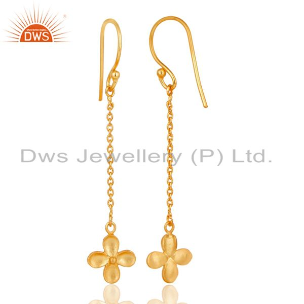 Suppliers 14K Gold Plated Traditional Handmade Link Chain Dangle Brass Earrings