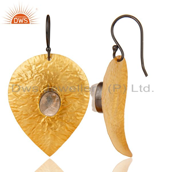 Suppliers 14K Gold Plated Traditional Handmade Leaf Design Crystal Quartz Brass Earrings