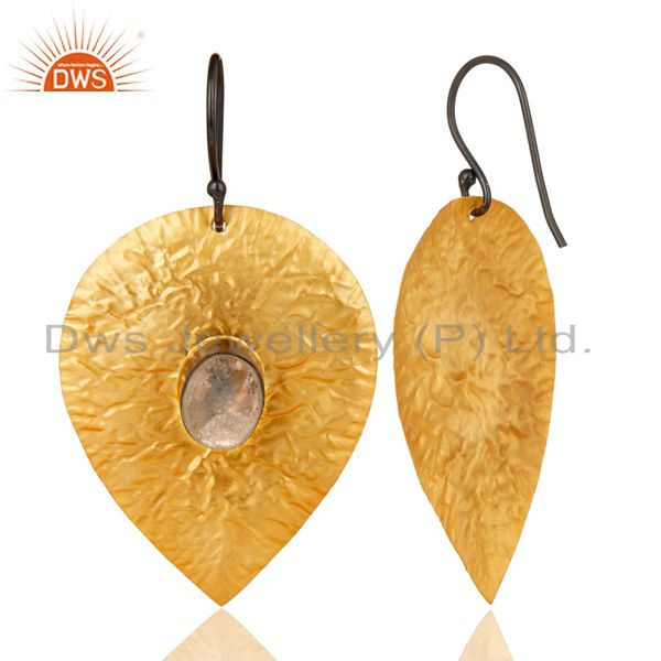 Suppliers 14K Gold Plated Handmade Leaf Design Crystal Quartz Drops Brass Earrings