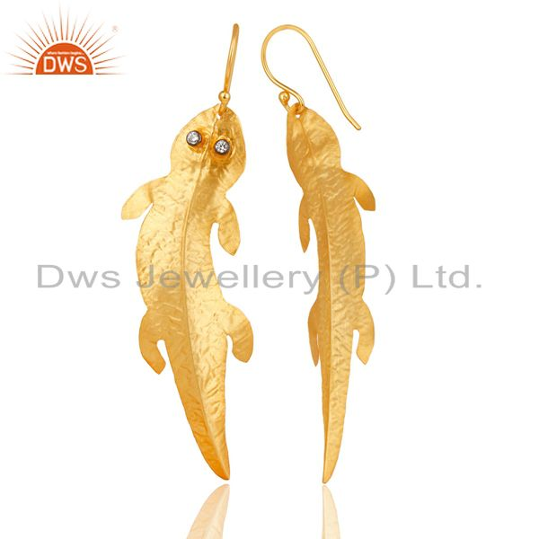 Suppliers 14K Gold Plated Traditional Handmade Lizard Design White Zirconia Brass Earrings