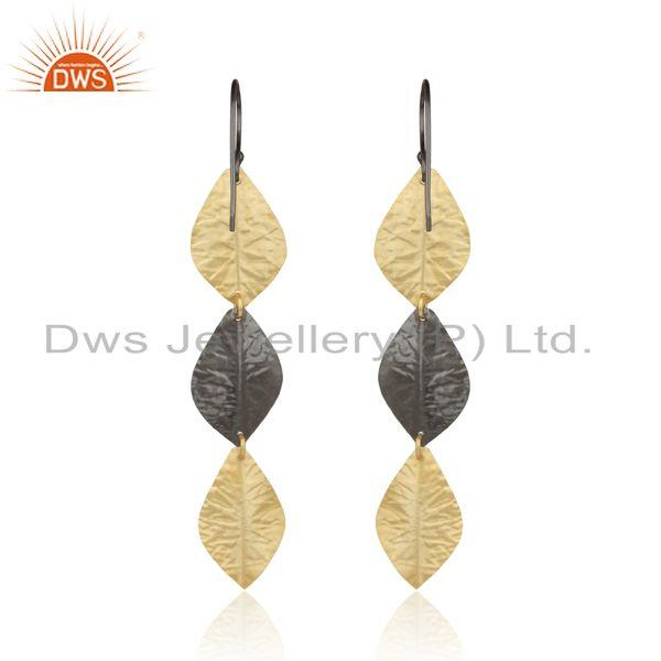 Designer of Designer leaf fashion long dangle in yellow gold black rhodium
