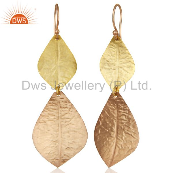 Suppliers 14K Multi Gold Plated Handmade Textured Leaf Design Dangle Earring Gift Jewelry