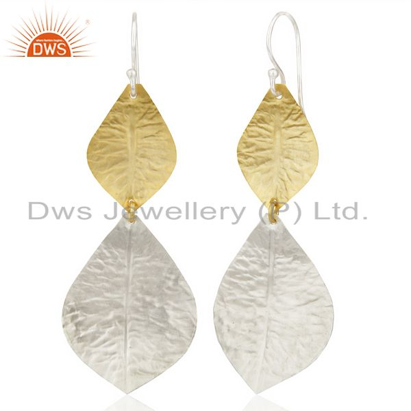 Suppliers 14K Yellow Gold Plated & Silver Plated Handmade Design Dangle Brass Earrings