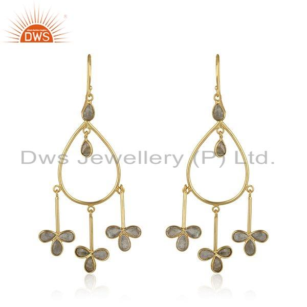 Suppliers Gold Plated 925 Silver Labradorite Gemstone Earrings Jewelry For Girls