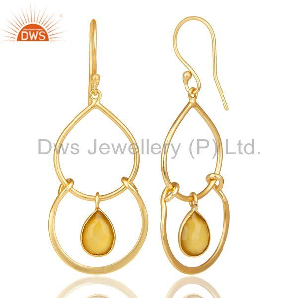 Suppliers 14K Yellow Gold Plated Handmade Dyed Yellow Chalcedony Bezel Set Drops Earrings