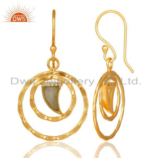 Designer of Circle design gold plated 925 silver aqua chalcedony earrings