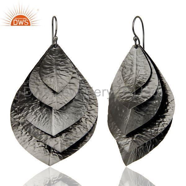 Suppliers Black Oxidized Traditional Handmade Textured Leaf Design Dangle Earrings