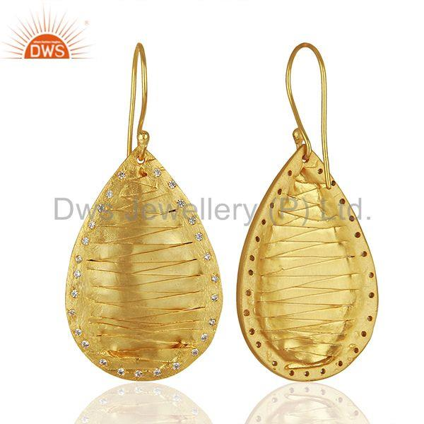 Suppliers Pear Shape Handcrafted Brass Gold Plated Fashion Earrings Wholesale