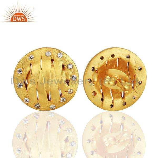 Suppliers Handcrafted Brass Gold Plated CZ Fashion Stud Earrings Manufacturer