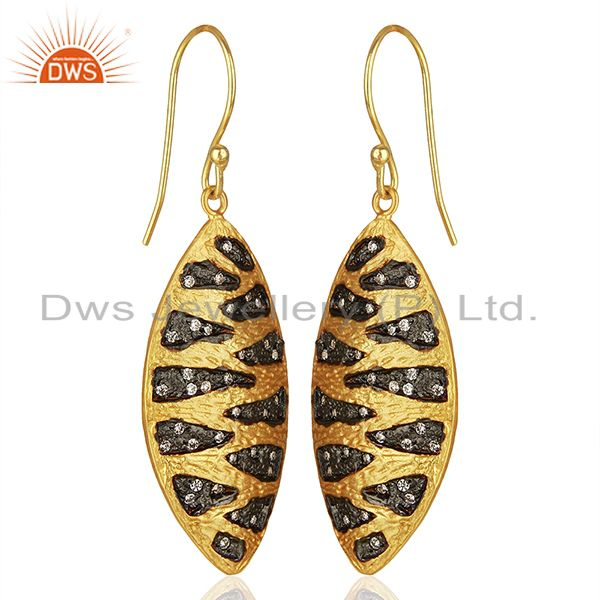 Suppliers Two Tone Plated Brass White Zircon Fashion Earrings Manufacturers
