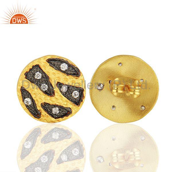Suppliers Handmade Brass Two Tone Fashion Zircon Stud Earrings Manufacturers