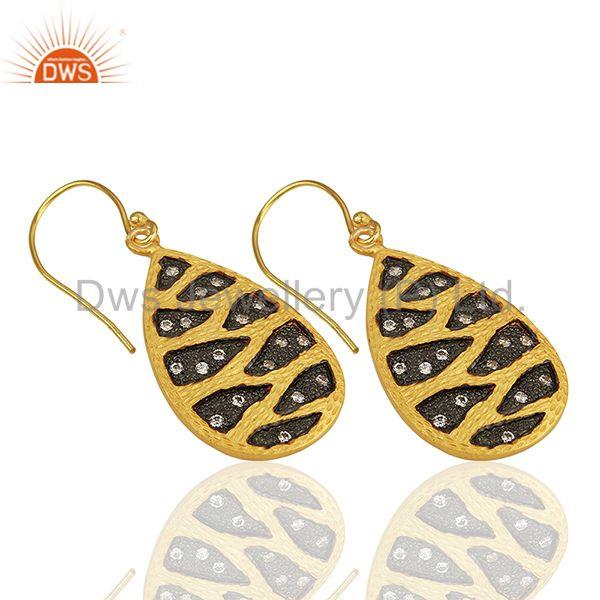Suppliers Handmade Gold Plated Brass Fashion White Zircon Earrings Suppliers