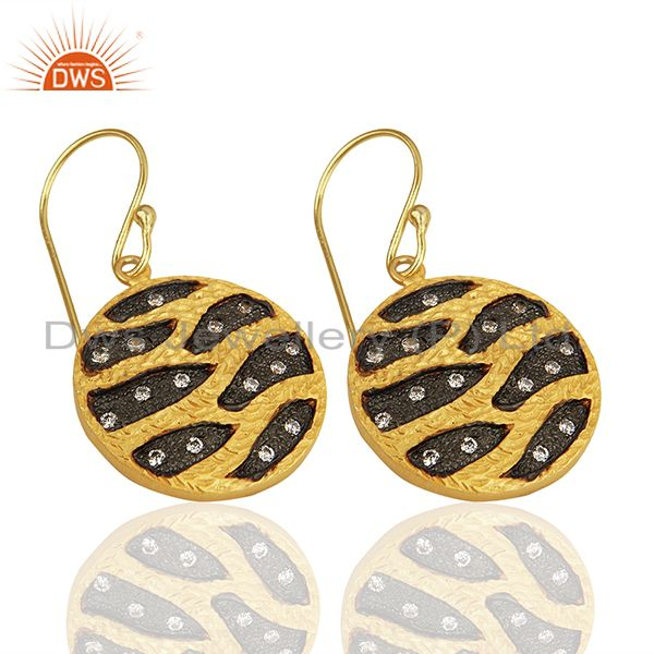 Suppliers Round Brass Fashion Gold Plated Cz Gemstone Earrings Manufacturers