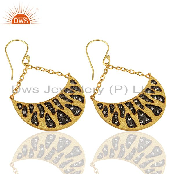 Suppliers Handmade Two Tone Cz Gemstone Gold Plated Brass Fashion Earrings
