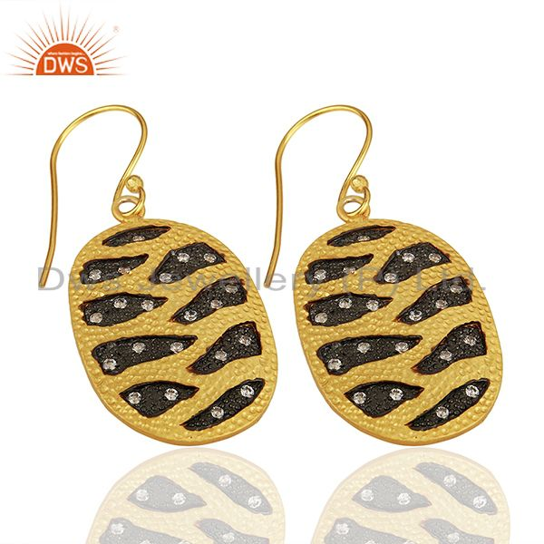Suppliers White Zircon Gold Plated Brass Fashion Girls Earrings Manufacturers