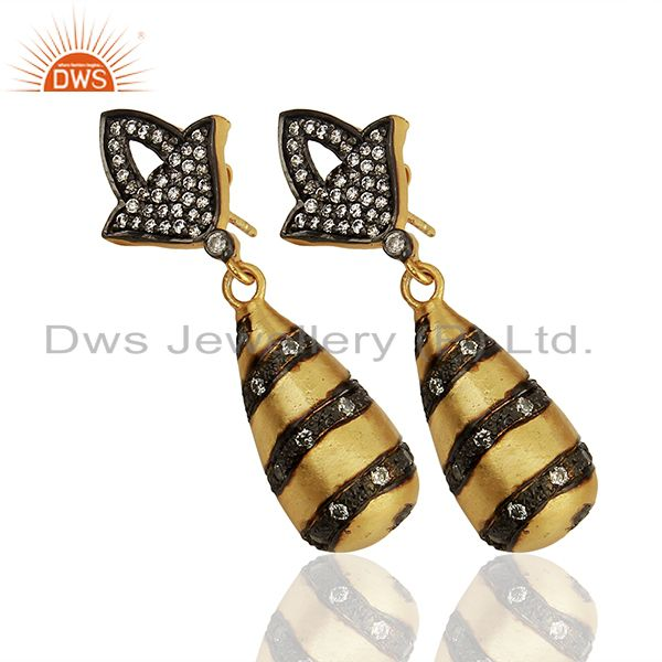 Suppliers White Zircon Two Tone Brass Fashion Dangle Earrings Manufacturers