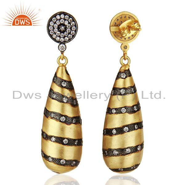 Suppliers Designer Brass Gold Plated Fashion Cz Gemstone Earrings Wholesale