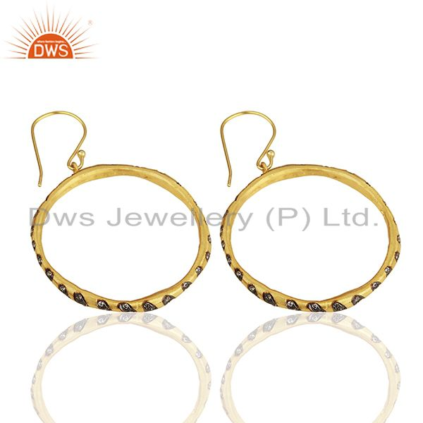 Suppliers Round Brass Gold Plated Fashion Cz Gemstone Hoop Earrings Suppliers