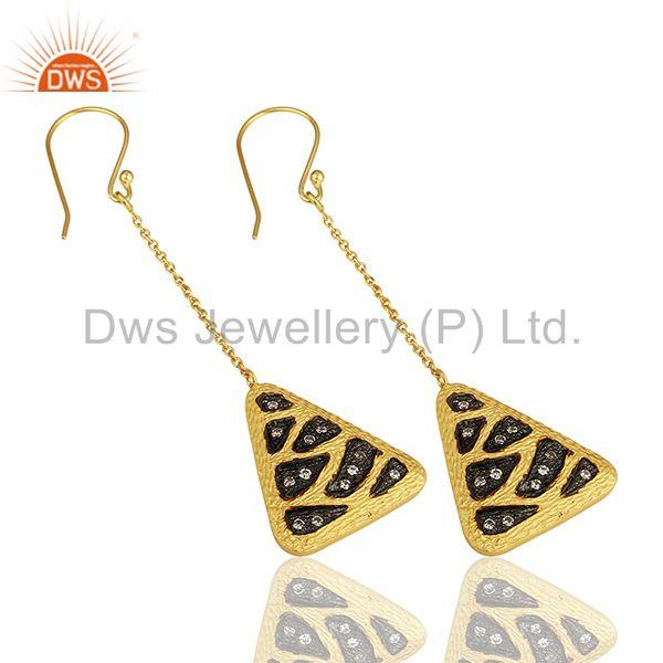 Suppliers Multi Color Plated Brass Fashion Cz Gemstone Chain Earrings Jewelry