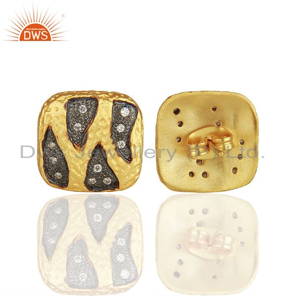 Suppliers Two Tone Brass White Zircon Fashion Girls Stud Earrings Manufacturers