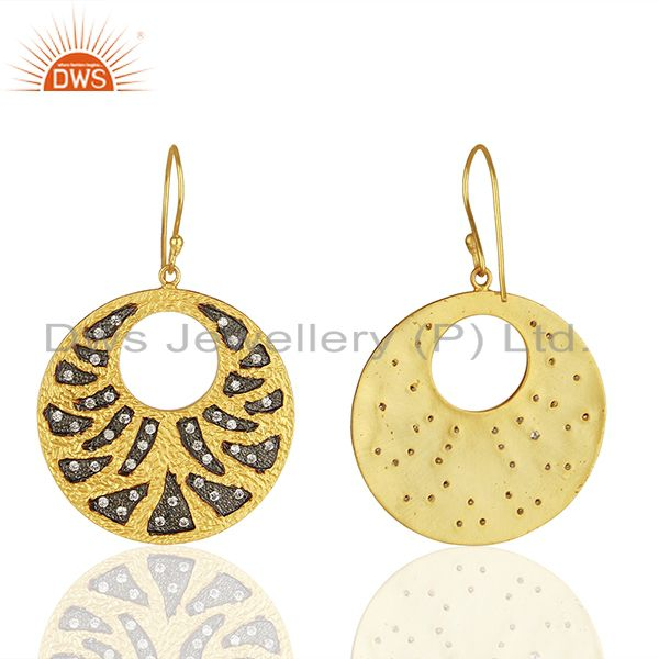 Suppliers Handamde Gold Plated Brass Fashion CZ Gemstone Earrings Manufacturer