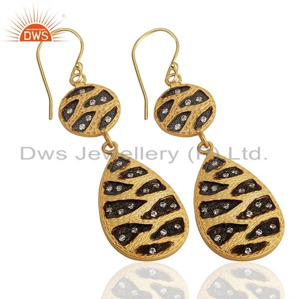 Suppliers Indian Handmade Gold Plated Brass Cz Gemstone Fashion Earrings