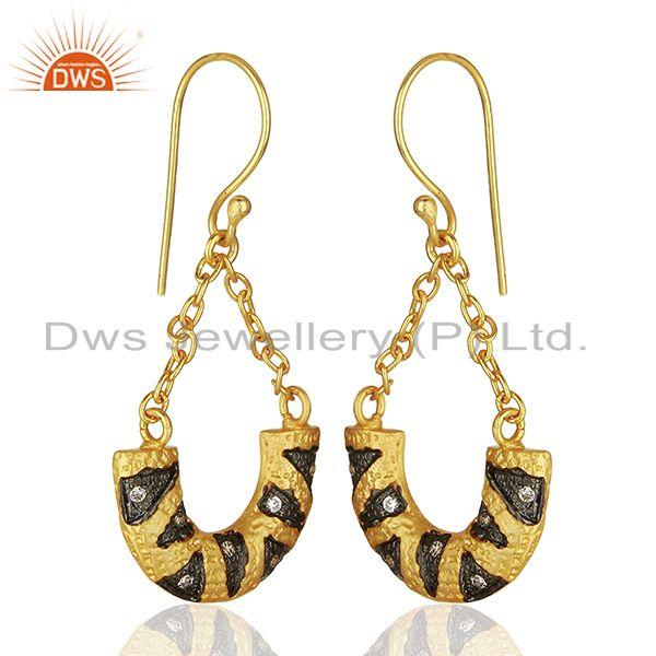 Suppliers Designer Gold Plated Cz Gemstone Brass Fashion Chain Earring Wholesale