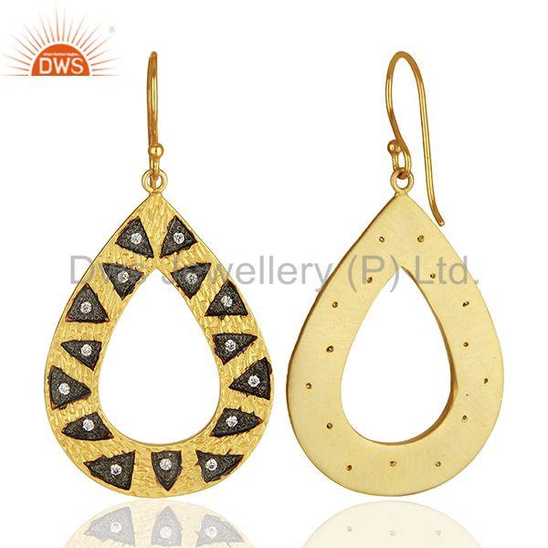 Suppliers Wholesale Gold Plated Brass Fashion Cz Gemstone Earring Jewelry
