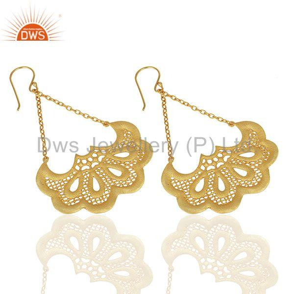 Suppliers Filigree Design Brass Gold Plated Fashion Chain Earrings Manufacturer