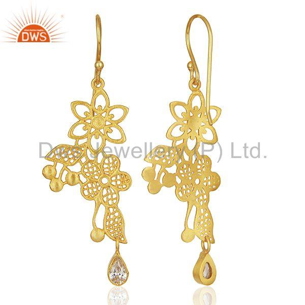 Suppliers Lace flower trellis with bezel set semi-precious stone Designer Earring
