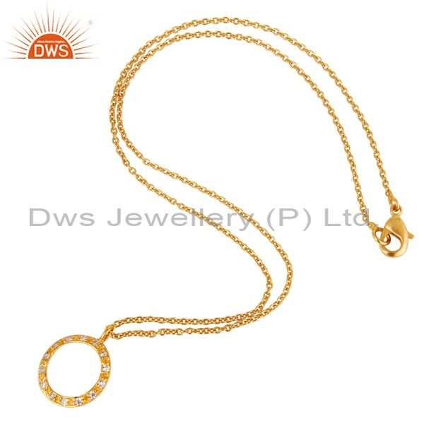 Suppliers 18k Gold Plated White Zirconia Round Style Chain Pendant Necklace