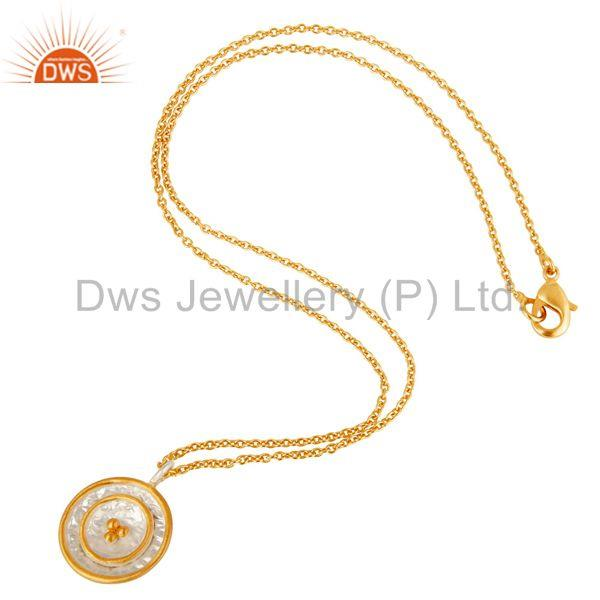 Suppliers 22K Gold Plated Traditional Handmade Round Design Brass Chain Pendant Necklace